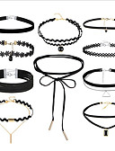 cheap Dress Watches-Women's Stackable Choker Necklace / Tattoo Choker - Leather, Lace Vintage, Gothic, Multi Layer Black 36 cm Necklace Jewelry 10pcs For Gift, Street
