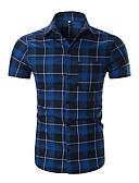 tanie Męskie koszulki polo-Koszula Męskie Aktywny / Podstawowy Bawełna Szczupła - Kolorowy blok / Kratka / Krótki rękaw
