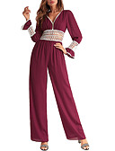 cheap Women's Jumpsuits & Rompers-TS - Dreamy Land Women's romper - solid colored wide leg v neck