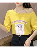 povoljno Majica s rukavima-Majica s rukavima Žene Dnevno / Vikend Pamuk Portret Na jedno rame / Ljeto