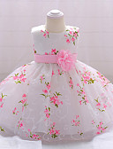 hesapli Elbiseler-Bebek Genç Kız Vintage Parti / Doğum Dünü Çiçekli Kolsuz Diz-boyu Pamuklu / Polyester Elbise Beyaz