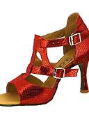 hesapli Latin Dans Giysileri-Kadın's Latin Dans Ayakkabıları / Salsa Ayakkabıları Suni Deri Sandaletler / Topuklular Toka / Kurdele Bağcık Kişiye Özel Kişiselleştirilmiş Dans Ayakkabıları Kırmzı / Mavi / Altın / Performans