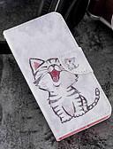 זול מגנים לטלפון-מגן עבור מוטורולה MOTO G6 / Moto G6 Plus / Moto G5s Plus ארנק / מחזיק כרטיסים / עם מעמד כיסוי מלא חתול קשיח עור PU