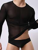 baratos Moda Íntima Exótica para Homens-Homens Sexy Decote Redondo Camiseta Com Transparência