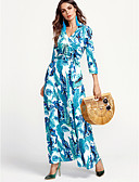 cheap Women's Dresses-Women's Plus Size Street chic Cotton Sheath Dress Print Maxi V Neck