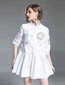 tanie Sukienki-Damskie Śłodkie Bawełna Luźna Spodnie - Solidne kolory / Geometric Shape / Kratka Frędzel / Nadruk Biały / Kołnierz stawiany / Plaża