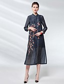 זול שמלות נשים-מידי אחיד / פרחוני - שמלה ישרה בגדי ריקוד נשים