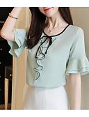 baratos Vestidos de Mulher-blusa feminina - decote redondo em cor sólida