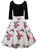 tanie Sukienki-Damskie Wyjściowe Vintage / Podstawowy Bawełna Szczupła Swing Sukienka - Kwiaty Do kolan / Wiosna / Lato