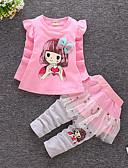 זול סטים של ביגוד לבנות-סט של בגדים כותנה שרוול ארוך דפוס מנוקד / דפוס חגים פעיל / בסיסי בנות ילדים