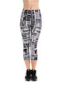 abordables Vestidos de Noche-Mujer Pantalones de yoga - Blanco / negro Deportes Letra y Número 3/4 Medias/Corsario Tallas Grandes Ropa de Deporte Dispersor de humedad, Secado rápido Elástico