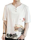 tanie Koszulki i tank topy męskie-T-shirt Męskie Wzornictwo chińskie, Nadruk Bawełna / Len W serek Kwiaty / Krótki rękaw / Lato