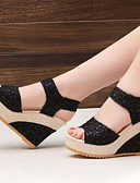 cheap Women's T-shirts-Women's Shoes Mesh Winter Comfort Sandals Wedge Heel Black / Beige