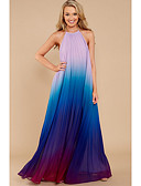 cheap Print Dresses-Women's Party / Beach Loose Swing Dress - Tie-Dye Maxi Halter Neck