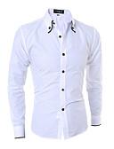 رخيصةأون تيشيرتات وتانك توب رجالي-رجالي قطن قميص نحيل الأعمال التجارية / أساسي لون سادة, عمل / كم طويل / الربيع