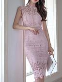 tanie Romantyczna koronka-Damskie Praca Szczupła Bodycon Sukienka - Solidne kolory Półgolf Do kolan / Lato