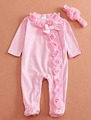 billige Babydrakter-Baby Unisex Grunnleggende Ensfarget Langermet Bomull Kjeledress og jumpsuit Rosa