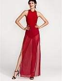 baratos Vestidos de Mulher-Mulheres Bandagem Para Noite Moda de Rua Bainha Vestido - Frente Única Com Transparência Fenda, Retalhos Malha Gola Redonda Cintura Alta