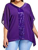 preiswerte Bluse-Damen Solide Übergrössen Bluse, V-Ausschnitt