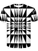 ieftine Maieu & Tricouri Bărbați-Bărbați Rotund Tricou Club De Bază / Șic Stradă - Bloc Culoare Imprimeu Alb negru / Manșon scurt