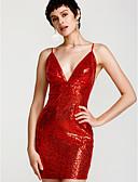 tanie Sukienki-Damskie Bodycon Sukienka - Solidne kolory W serek Nad kolano Czerwony