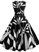 tanie W stylu vintage-Damskie Wyjściowe Vintage Bawełna Szczupła Swing Sukienka - Kwiaty, Nadruk Do kolan / Wiosna / Lato