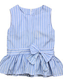 お買い得  女児 ドレス-赤ちゃん 女の子 ベーシック 日常 ブルー & ホワイト ストライプ リボン ノースリーブ レギュラー コットン / ポリエステル ドレス ブルー / 幼児