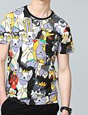 ieftine Maieu & Tricouri Bărbați-Bărbați Rotund - Mărime Plus Size Tricou Bumbac Geometric / Manșon scurt