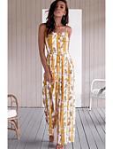 abordables Robes Maxi-Femme Feuille tropicale Sortie / Plage Sans Bretelles Vert Blanc Jaune Ample Combinaison-pantalon, Fleur M L XL Sans Manches