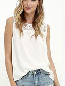 tanie T-shirt-Puszysta Bluzka Damskie Vintage, Frędzel Bawełna Solidne kolory Bufka Czarno-biały