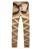 tanie Męskie spodnie i szorty-Męskie Moda miejska Bawełna Szczupła Typu Chino Spodnie Solidne kolory Wysoka talia