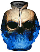 cheap Men's Hoodies & Sweatshirts-Men's Plus Size Basic / Exaggerated Long Sleeve Loose Hoodie - 3D / Skull Print Hooded Blue XL / Fall / Winter