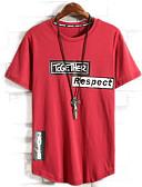 זול טישרטים לגופיות לגברים-אותיות צווארון עגול טישרט - בגדי ריקוד גברים / שרוולים קצרים