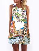 זול שמלות נשים-מעל הברך פרחוני - שמלה שיפון וינטאג' בגדי ריקוד נשים