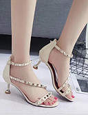 preiswerte Damen Leggings-Damen Schuhe PU Sommer Komfort Sandalen Kitten Heel-Absatz Offene Spitze Schnalle Schwarz / Beige / Rosa