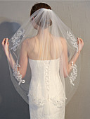 cheap Wedding Veils-One-tier Fashionable Jewelry / Flower Style / Mesh Wedding Veil Elbow Veils with Fringe / Splicing 31.5 in (80cm) POLY / Tulle / Oval