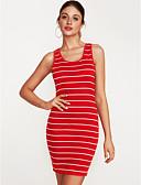 cheap Women's Dresses-Women's Bodycon Dress - Striped Deep U
