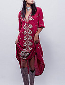 رخيصةأون فساتين للنساء-فستان نسائي متموج ميدي فضفاض منخفضة V رقبة