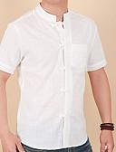 levne Pánské košile-Pánské - Jednobarevné Košile Bavlna / Podšívka Bílá XXXL / Krátký rukáv