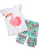 Χαμηλού Κόστους Βρεφικά σετ ρούχων-Μωρό Κοριτσίστικα Καθημερινό / Ενεργό Καθημερινά / Αργίες Flamingos Στάμπα Στάμπα Κοντομάνικο Κανονικό Νάιλον Σετ Ρούχων Λευκό / Νήπιο