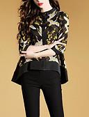 זול חולצה-חולצה לנשים - צווארון עגול גיאומטרי
