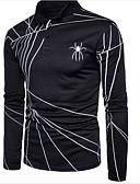 tanie Koszulki i tank topy męskie-T-shirt Męskie Aktywny, Nadruk Kołnierzyk koszuli Szczupła - Solidne kolory / Geometric Shape / Długi rękaw