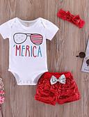 Χαμηλού Κόστους Βρεφικά σετ ρούχων-Μωρό Κοριτσίστικα Ενεργό Καθημερινά Στάμπα Κοντομάνικο Μακρύ Βαμβάκι / Πολυεστέρας Σετ Ρούχων Λευκό