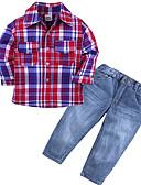 billige Pikekjoler-Baby Gutt Grunnleggende Stripet Langermet Polyester Tøysett Rød