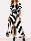 hesapli Kokteyl Elbiseleri-Kadın's Sokak Şıklığı / sofistike Kılıf / Gömlek Elbise - Çizgili, Bölünmüş Maksi