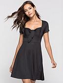 hesapli Kadın Etekleri-Kadın's A Şekilli Elbise - Solid Diz üstü