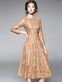 cheap Women's Dresses-Women's Holiday / Going out Vintage / Street chic A Line Dress - Solid Colored Lace Spring Gray Khaki L XL XXL