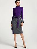 זול שמלות נשים-צווארון עגול קצר מותניים גבוהים מידי קולור בלוק - שמלה גזרת A משי בגדי ריקוד נשים / חורף / שרוול אבוקה