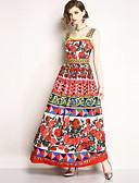 cheap Women's Dresses-Women's Going out / Beach Boho / Street chic Maxi Swing Dress - Floral Print Strap Summer Red L XL XXL