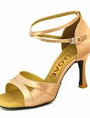 ราคาถูก กระโปรงเรโทรพิมพ์ลายเส้น-สำหรับผู้หญิง ซาติน ลาติน หินประกาย / หัวเข็มขัด รองเท้าแตะ ส้นแบบกำหนดเอง ตัดเฉพาะได้ เหลือง / ม่วง / สีกากี / EU40